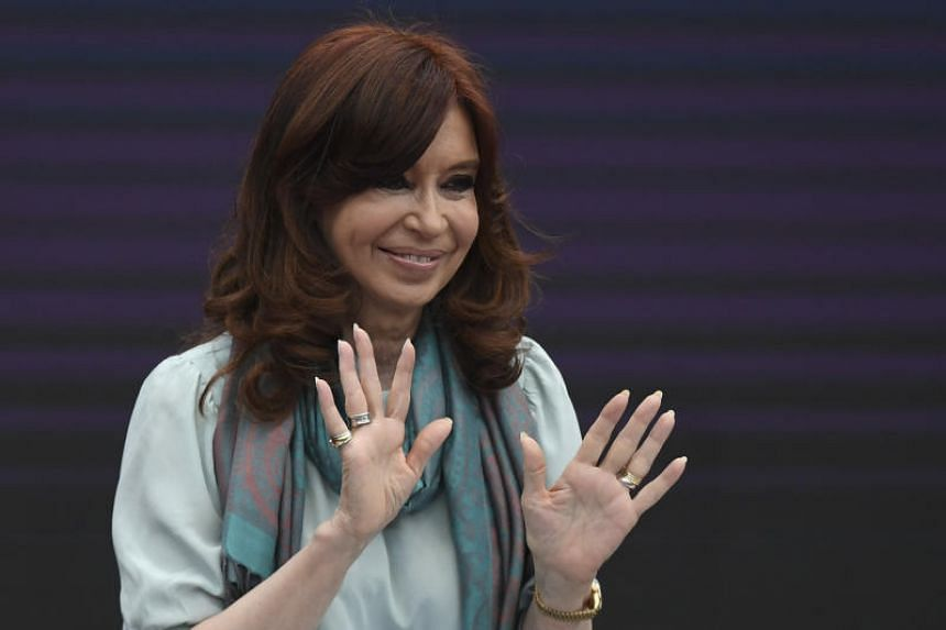 Former Argentine president (2007-2015) and current senator Cristina Kirchner gestures during the First World Critical Thinking Forum in Buenos Aires.
