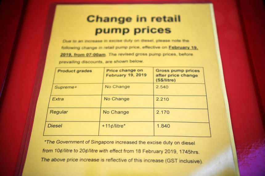 The rise in diesel pump prices, shown at the Esso petrol station along Toa Payoh Lorong 2 on Feb 19, 2019.