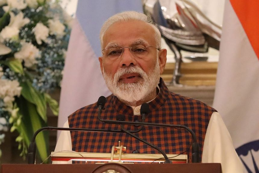 Indian prime minister Narendra Modi speaks during a joint press statement at Hyderabad house in New Delhi, India, on Feb 18, 2019.