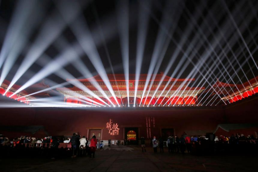 An array of lights brightens up the Forbidden City during a cultural event celebrating the Lantern Festival, the end to the Chinese New Year festivities, in Beijing on Feb 19, 2019.