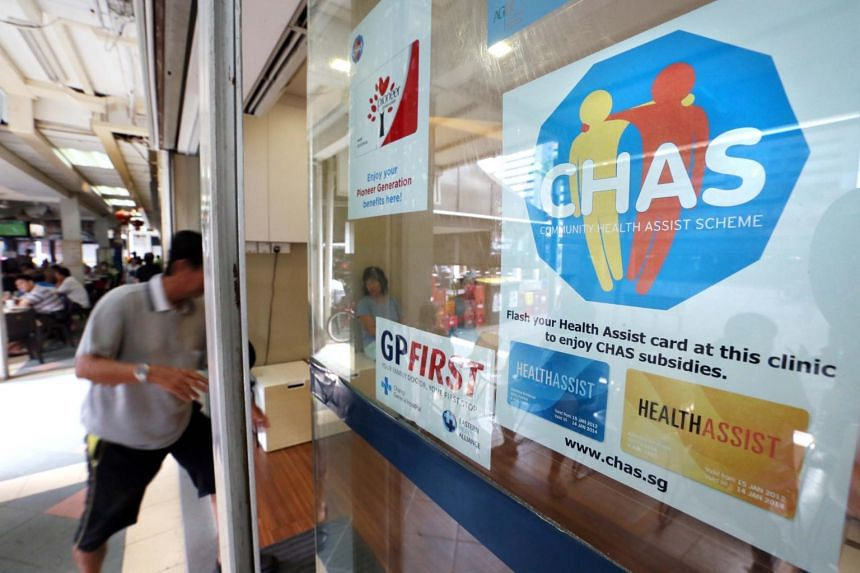 A Community Health Assist Scheme decal seen at a clinic.