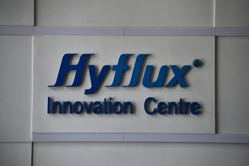 The Hyflyx logo at the lobby of the Hyflux Innovation Centre, in Bendemeer Road on Feb 16, 2019.