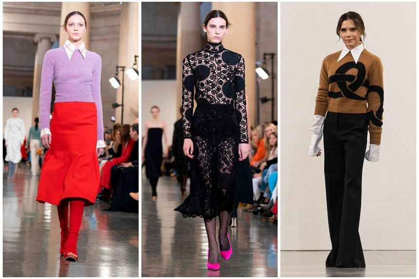 Victoria Beckham (right) and her creations (left and middle) on show at the London Fashion Week on Sunday.