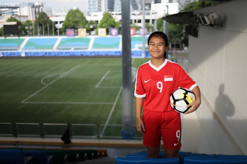 Putri Nur Syaliza, 15, became the youngest footballer to play and score for the women's national team in March 2018.