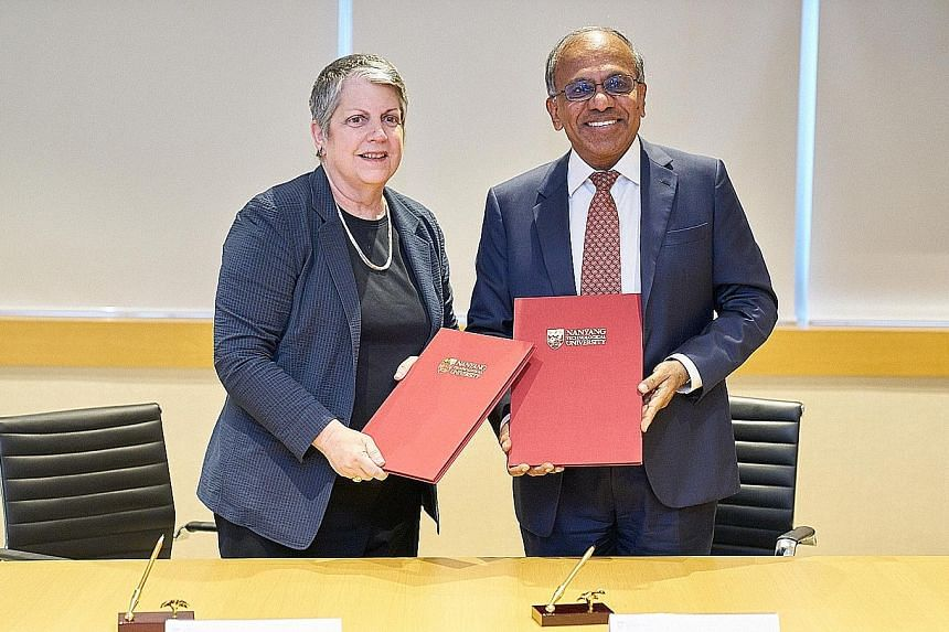 University of California president Janet Napolitano and Nanyang Technological University president Subra Suresh yesterday signed a memorandum of understanding that spans five years. The two institutions will explore joint research efforts in areas th