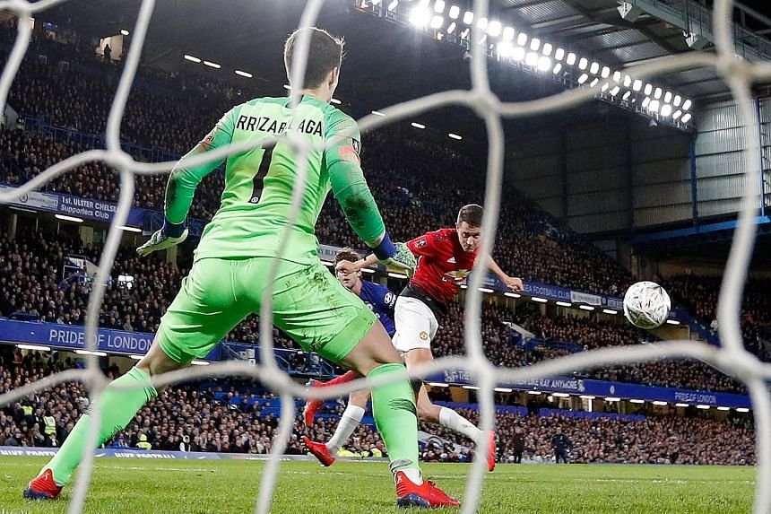 Midfielder Ander Herrera heading past Chelsea goalkeeper Kepa Arrizabalaga to score Manchester United's opening goal in their 2-0 FA Cup fifth-round win at Stamford Bridge on Monday. It was a rematch of last season's final which Chelsea won 1-0.