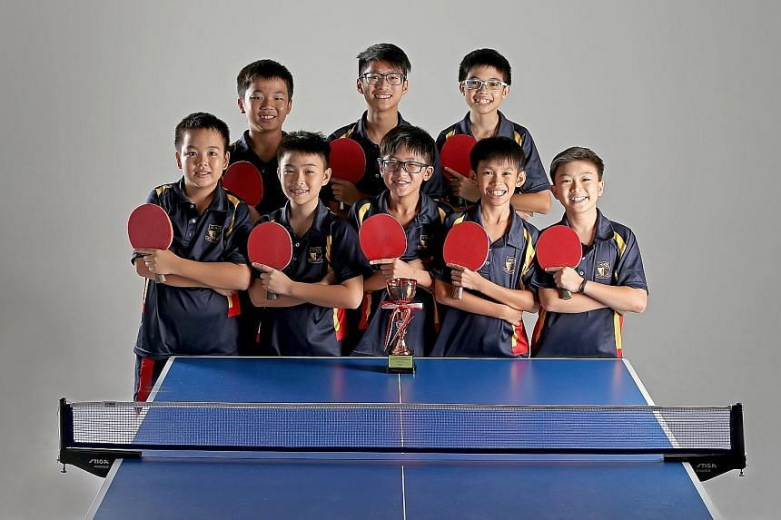 Above: The ACS (Barker Road) C Division table tennis squad of (front row, from left) Ryan Chong, Silas Chua, Ethan Ong, Ryan Eng, Benjamin Wee, (back row, from left) Ethan Chua, Ryan Tan and Seth Wong. Left: Queensway Secondary School student Putri N