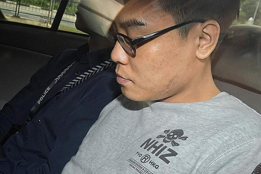 Wee Boon How (left) was jailed for three years and nine months yesterday. He was out on bail for an earlier rioting offence when he attacked Mr Bong Hong Yun in a fight at Golden Mile Complex in October 2017. The fight broke out after Wee accused Mr