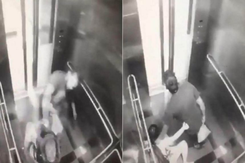 Footage of the attack shows the man repeatedly punching and kicking a woman in a lift at the Taman Mutiara MRT station in Kuala Lumpur on Feb 14.