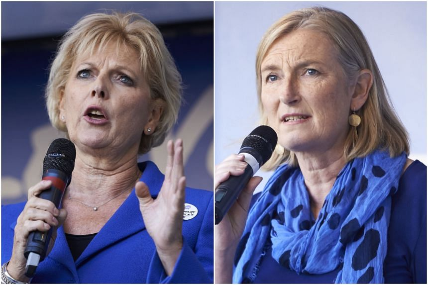 Anna Soubry (left) and Sarah Wollaston are two of the three pro-EU lawmakers from Britain's governing Conservatives to quit on Feb 20, 2019.