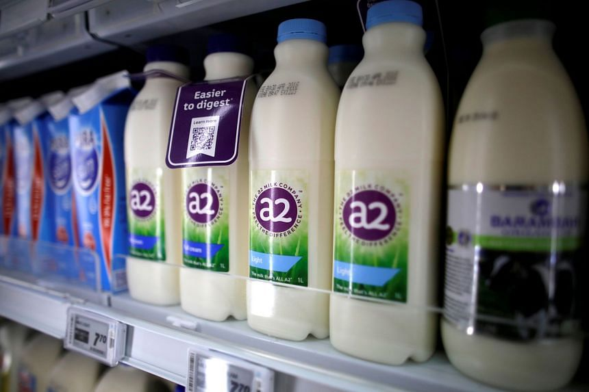 A2 milk seen on a supermarket shelf in Singapore, on April 16, 2018.