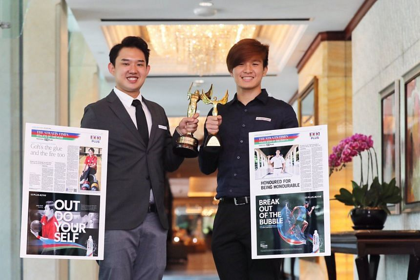 National bowler Muhammad Jaris Goh (left) was named The Straits Times' Athlete of the Year 2018, while St Andrew's Secondary's hockey captain Sean See won the ST Young Athlete of the Year award.