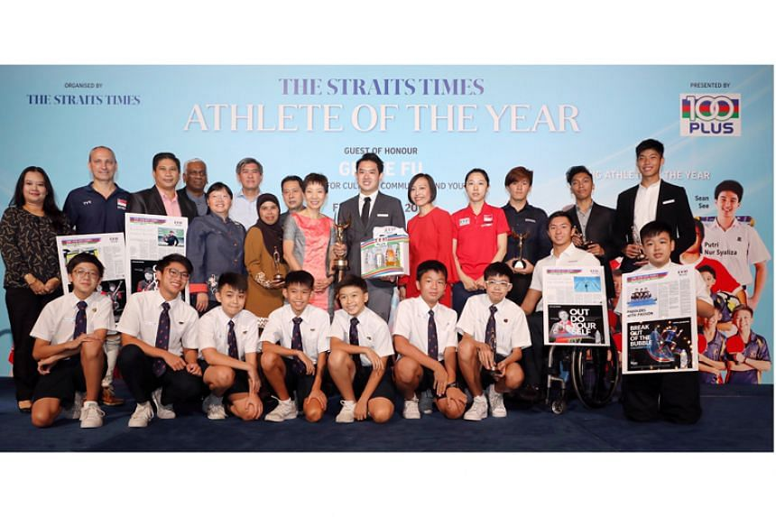Minister for Culture, Community and Youth Grace Fu with The Straits Times' Athlete of the Year and ST Young Athlete of the Year nominees and other guests at the awards ceremony on Feb 21, 2019.