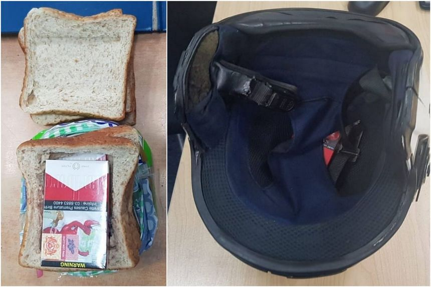 The man hid five packets of contraband cigarettes in a loaf of bread (left), which was placed in the basket of his motorcycle. A packet was also concealed in the padding of his motorcycle helmet.