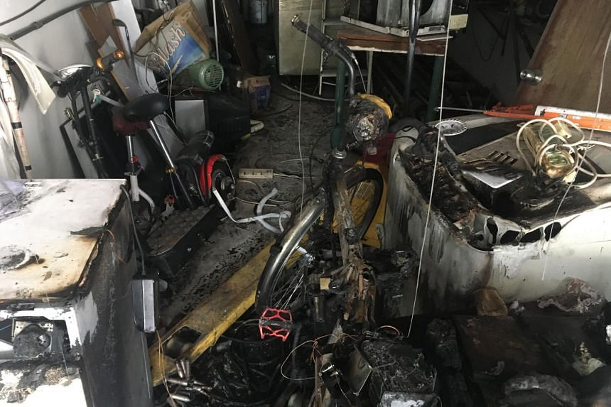 A fire involving an electric bicycle broke out at 527 Geylang Road on  on Oct 3, 2018.