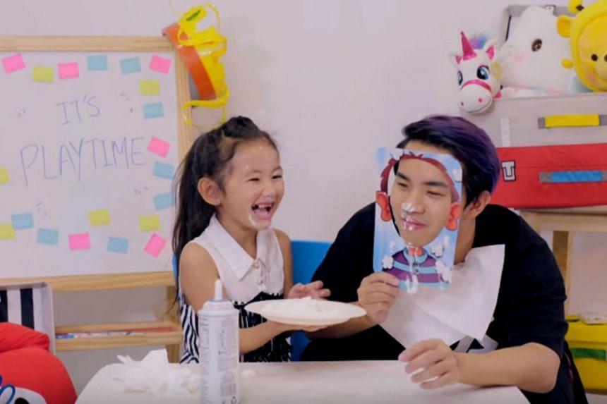 Cindy (left), whose surname is withheld to protect her privacy, is the star of Playtime TV, a local YouTube channel that has accumulated over a million views since it started putting up videos six months ago.