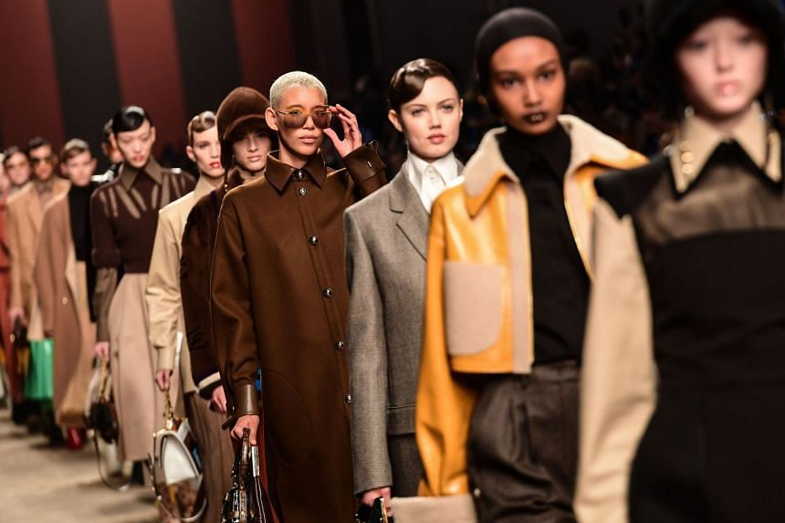 Models present creations for Fendi on Feb 21, 2019 in Milan.