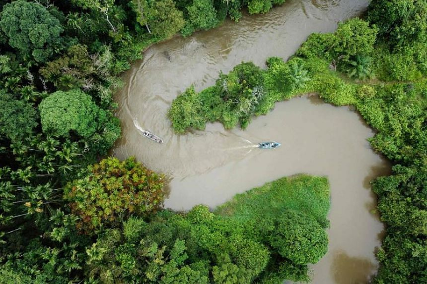 Indonesian forest rangers on boats patrolling the Leuser ecosystem near Suaq Balimbing, Aceh, Indonesia on Jan 12, 2019.