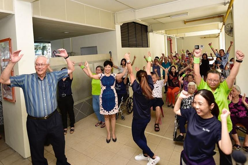 Emeritus Senior Minister Goh Chok Tong and Second Minister for Finance and Education Indranee Rajah at the opening of Montfort Care's senior-friendly gym at its elders' activity centre in Marine Parade on Feb 22, 2019.