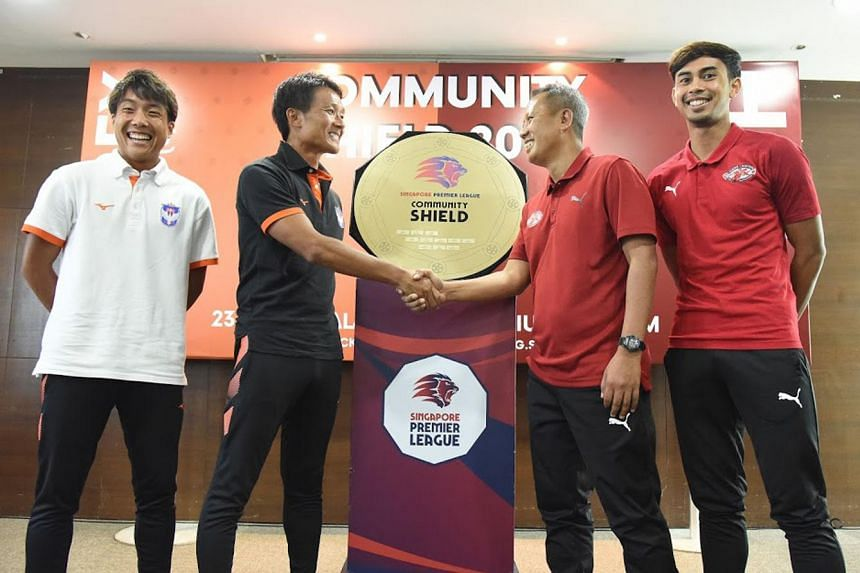 (From left) Albirex Niigata's captain Kyoga Nakamura and head coach Keiji Shigetomi with Home United's head coach Saswadimata Dasuki and forward Adam Swandi on Feb 22, 2019, ahead of the clubs' Community Shield match.