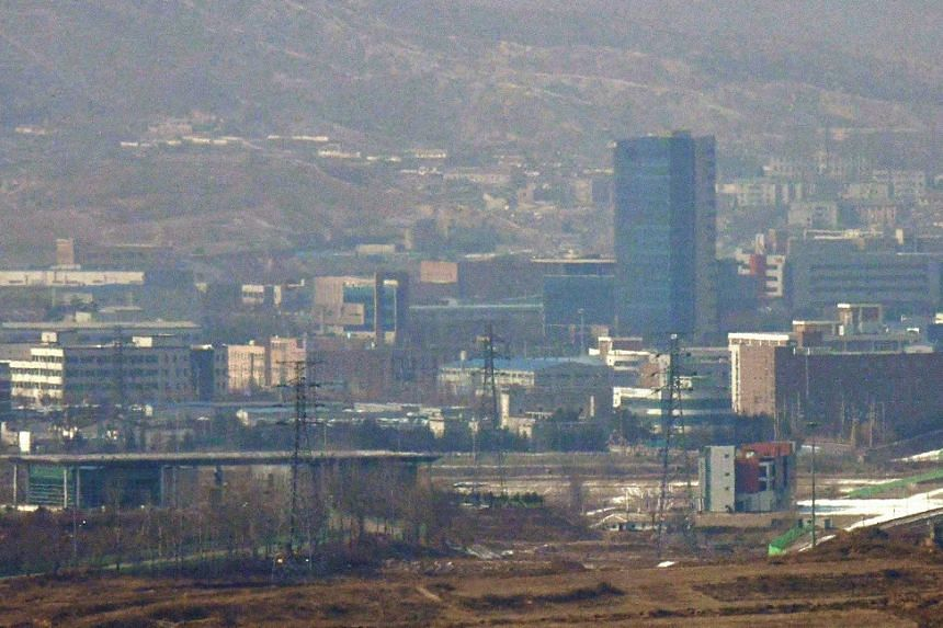 The Kaesong Industrial Complex area, as seen from a South Korean observatory post.