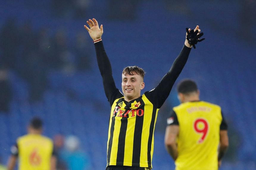 Watford's Gerard Deulofeu celebrates at the end of the match.