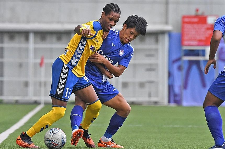 Defending champions Albirex (in blue), who lost 4-0 to Tampines Rovers during a pre-season friendly, will be hoping to find their way in the Singapore Premier League after a squad overhaul.