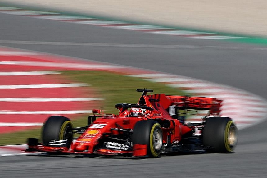 Ferrari's newcomer Charles Leclerc in his No. 16 car during the pre-season testing at Circuit de Catalunya in Barcelona on Thursday. He had set the fastest time on the second day of testing.