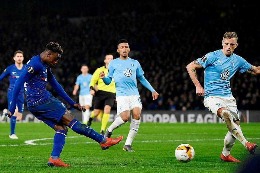Chelsea winger Callum Hudson-Odoi scoring their third goal in the 3-0 Europa League home win over Malmo on Thursday. The 5-1 aggregate win sent the Blues into the last 16, where they will next meet Russia's Dynamo Kiev.