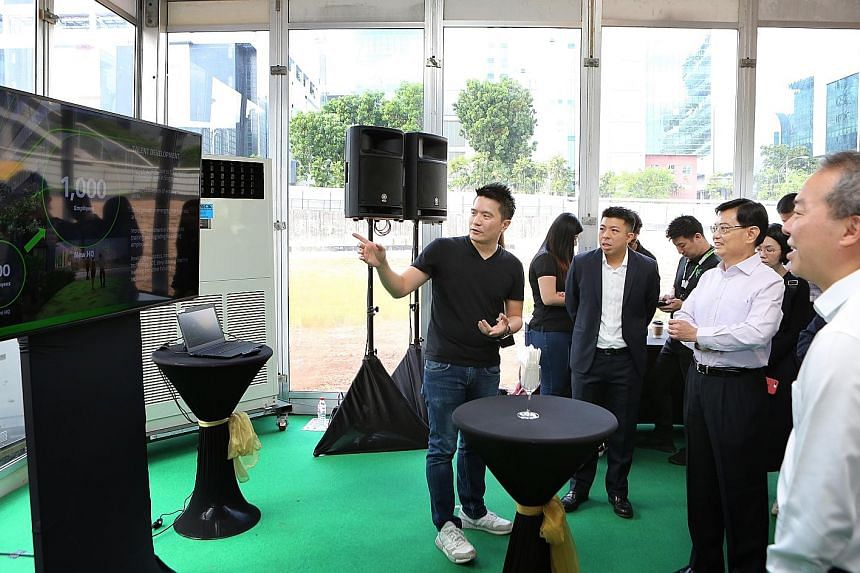 Razer's new 19,300 sq m headquarters in one-north will be managed by Echo Base and serve as a showcase of several building technologies that enhance security and user experience. (From left) Razer CEO Tan Min-Liang and Echo Base managing director Bry