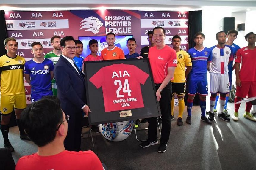 FAS president Lim Kia Tong (left) together with AIA CEO Patrick Teow during the sponsorship signing event at Jalan Besar Stadium, on Feb 23, 2019.