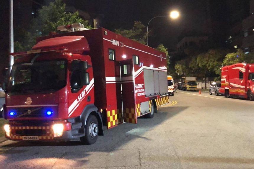 In one photo, SCDF vehicles can be seen at the scene of the ammonia leak at 7030 Ang Mo Kio Avenue 5.