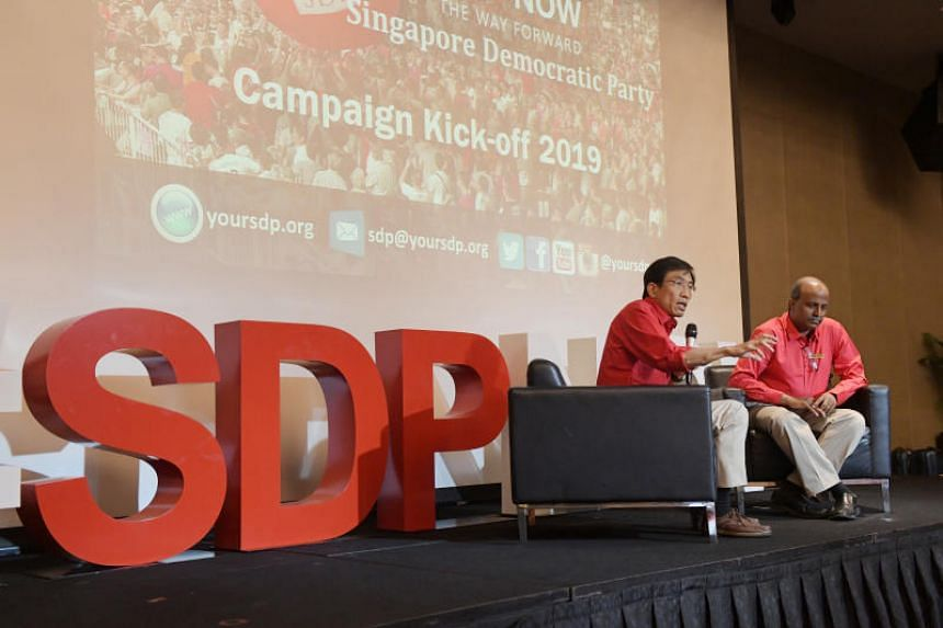 At the launch event, Singapore Democratic Party leaders including secretary-general Chee Soon Juan (left) and chairman Paul Tambyah laid out the party's plans for the rest of 2019.