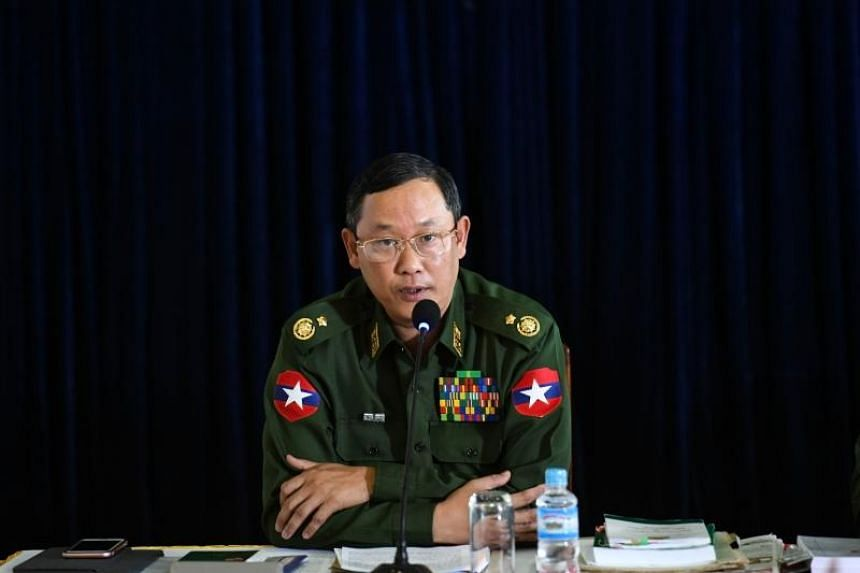 Major General Tun Tun Nyi attending a press conference in the Yangon division military headquarters, on Feb 23, 2019.