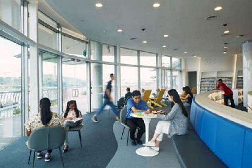 library@harbourfront offers a scenic view of Sentosa from its Reading Lounges.