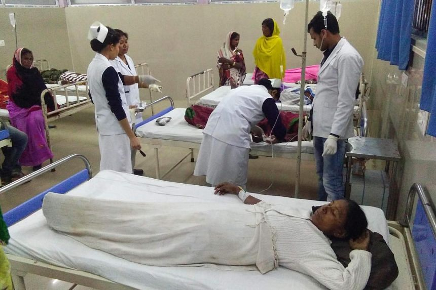 Victims receiving medical treatment at Jorhat hospital after allegedly drinking toxic bootleg liquor in Assam's Golaghat district on Feb 22, 2019.