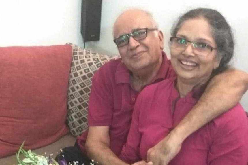 Mr Anindya Mitra and his wife Sumedha on Valentine's Day in Kolkata this year. Since his haemorrhagic stroke in Singapore last July, he has started playing the piano again and, with the help of physiotherapy, is walking as well. He has recovered well