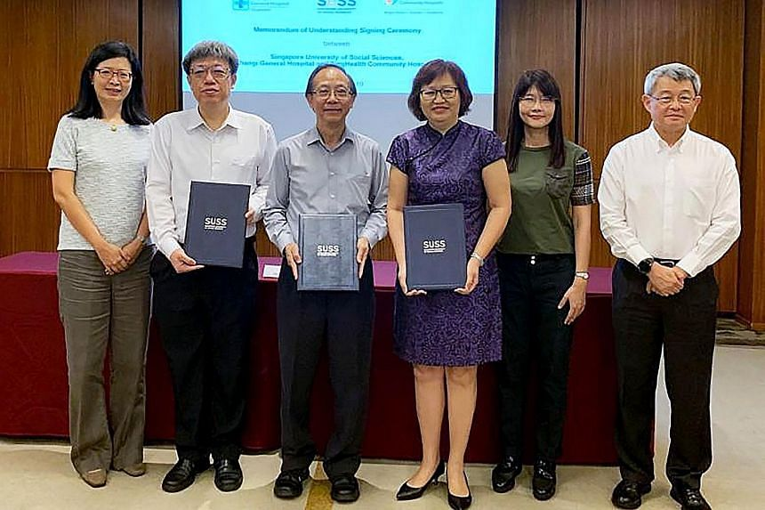At the signing ceremony for the MOUs were (from left) Changi General Hospital's chief financial officer Lim Lee Nor and CEO Lee Chien Earn; SUSS president Cheong Hee Kiat; SingHealth Community Hospitals' CEO Margaret Lee and finance director Marianne
