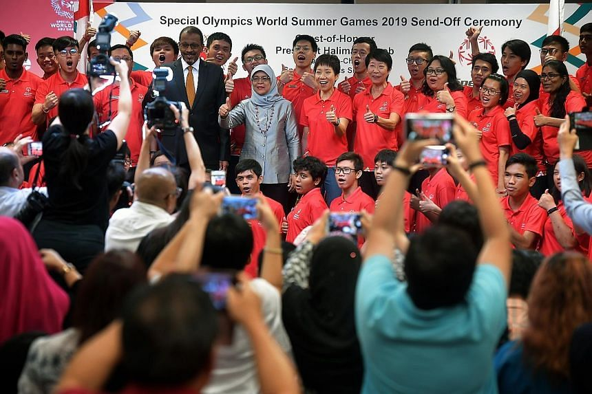 President Halimah Yacob was the guest of honour at a send-off ceremony yesterday for 30 Singapore athletes who will compete at the March 14-21 Special Olympics World Games in Abu Dhabi. Grace Fu, Minister for Culture, Community and Youth, and the Uni