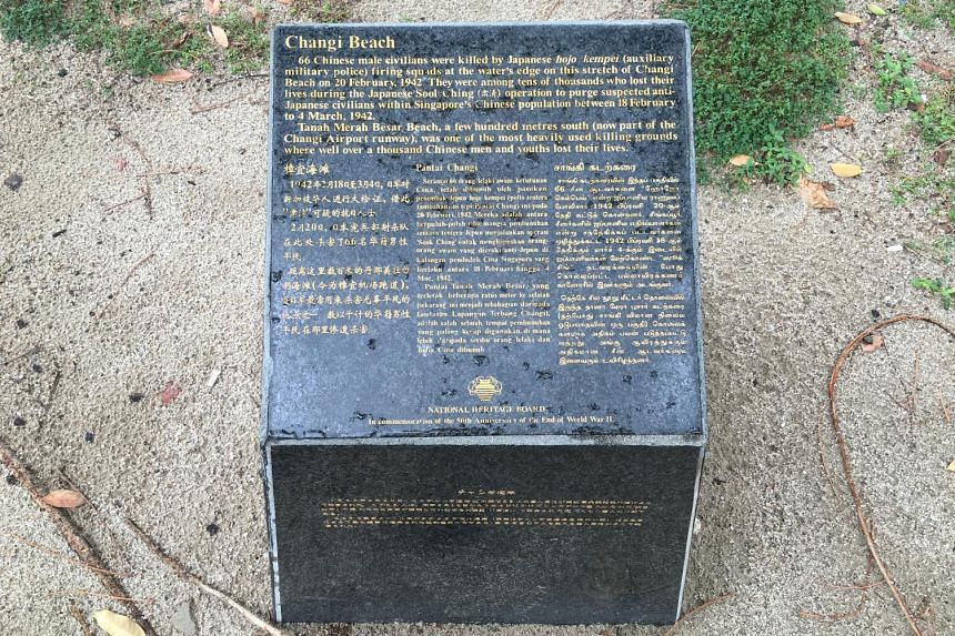 The National Heritage Board's decision to update WWII markers comes after former foreign minister George Yeo highlighted at a conference last month that a plaque (above, left) about the Sook Ching massacre at Changi Beach has only English text, repla
