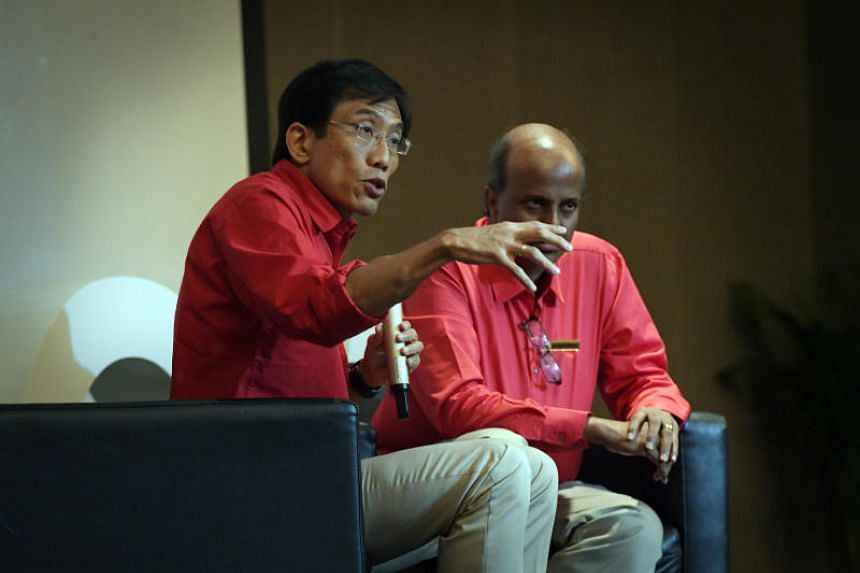 Singapore Democratic Party (SDP) secretary-general Chee Soon Juan and SDP chairman Paul Tambyah field questions from the media and the audience during a launch event for the party's election campaign on Feb 23, 2019.