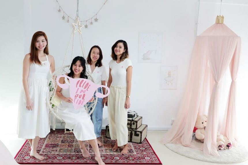 The four students: (from left) Ms Chloe Then, 22, Ms Michelle Tay, 23, Ms Sharmane Suen, 22, and Ms Gwendelyn Gomez, 23.