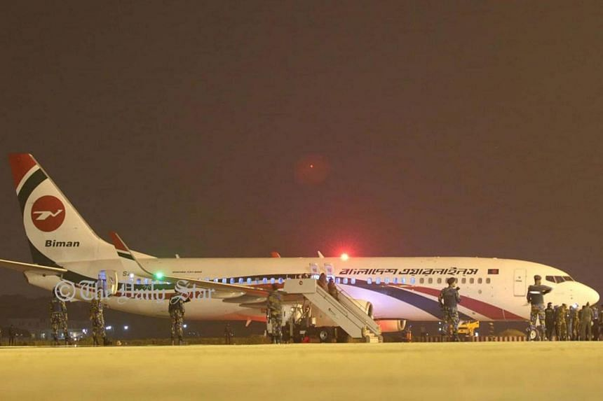 The Biman Bangladesh Airlines plane landed safely at Chittagong airport, where the passengers were evacuated.