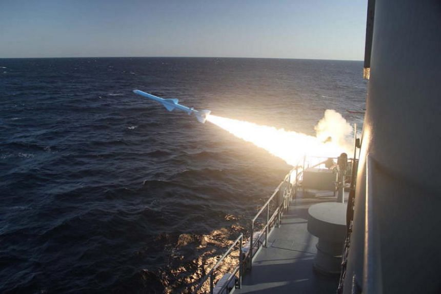 A ground-to-ship short-range cruise missile is test fired during an Iranian navy military drill on the Sea of Oman, southern Iran, on Feb 23, 2019.