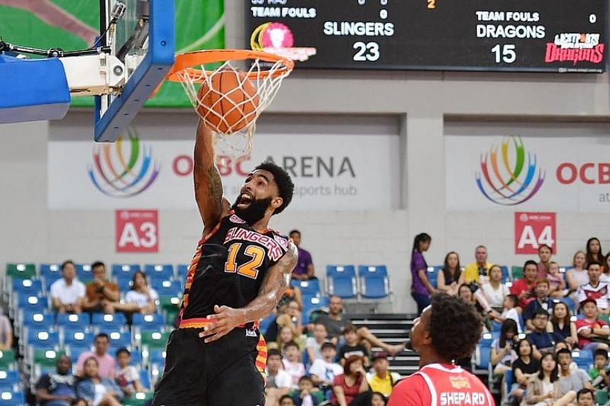The Singapore Slingers' Jerran Rashad Young in action during the Asean Basketball League match against the Westports Malaysia Dragons on Feb 24, 2019.