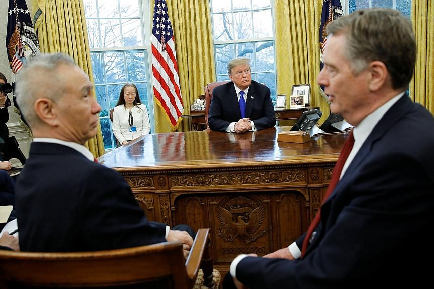 US President Donald Trump at a meeting with China's Vice-Premier Liu He and US Trade Representative Robert Lighthizer in Washington last Friday.