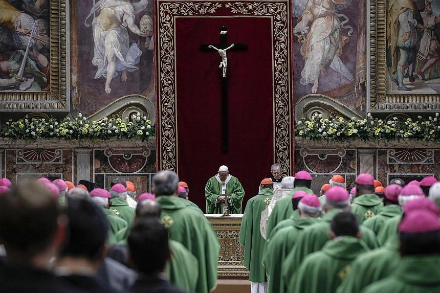 "Speaking at the end of a mass in the frescoed Sala Regia of the Vatican's Apostolic Palace yesterday, Pope Francis vowed that the Roman Catholic Church will ""spare no effort"" to bring abusers to justice and will not cover up or underestimate abuse."