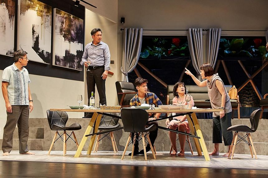 The cast of Late Company (from left) Edward Choy, Adrian Pang, Xander Pang, Karen Tan and Janice Koh put up a nuanced performance.