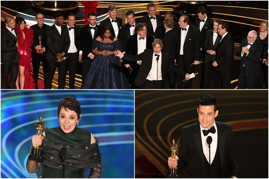 (Clockwise from top) The producers and cast of Green Book, Best Actor Rami Malek and Best Actress Olivia Colman accepting their awards on stage during the 91st Annual Academy Awards at the Dolby Theatre in Hollywood, on Feb 24, 2019.