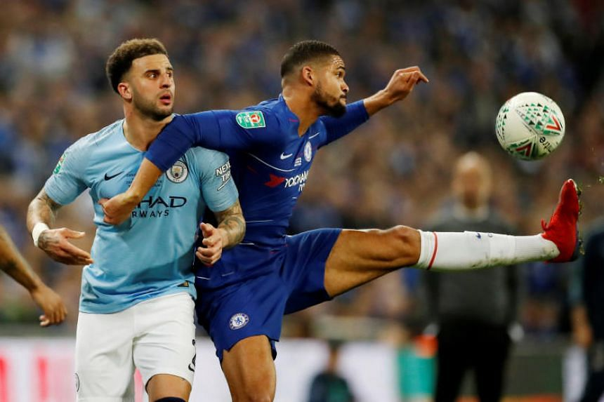 Manchester City's Kyle Walker (left) in action with Chelsea's Ruben Loftus-Cheek at Wembley Stadium, London, Britain, on Feb 24, 2019.